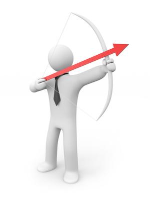Businessman archer. Arrow to success